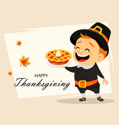 Thanksgiving greeting card with canadian man vector