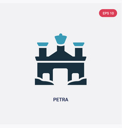 Two color petra icon from monuments concept vector
