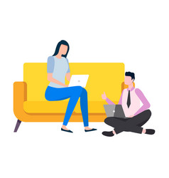 woman working from home freelances on sofa vector image