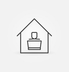working on laptop at home outline concept vector image