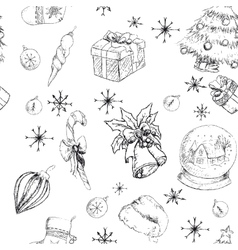 X-mas seamless hand drawn backgrownd bw vector image