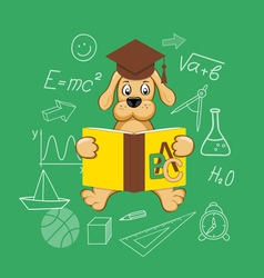Flat elements of education with dog vector