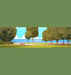 summer city park near river bank green trees and vector image