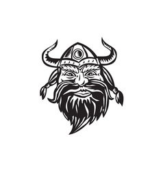 Viking Warrior Head Angry Black and White vector image vector image