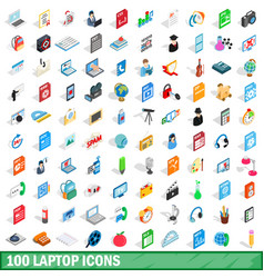 100 laptop icons set isometric 3d style vector image