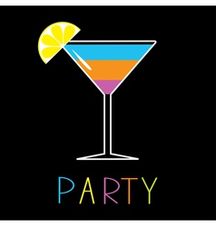 Colorful cocktail in martini glass Party Card vector image vector image