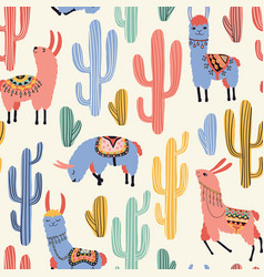 colorful llamas and cacti vector image vector image
