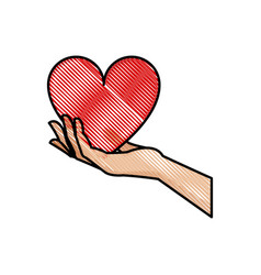 drawing hand holding heart blood donation symbol vector image