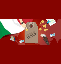 made in italy price tag badge export vector image