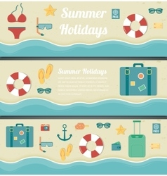 Summer travel banners Summer holidays background vector image