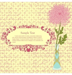 Background with chrysanthemum in vase and vintage vector image vector image