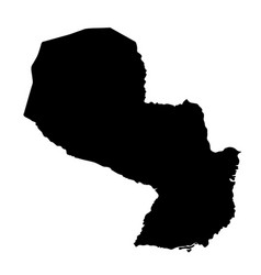black silhouette country borders map of paraguay vector image