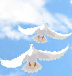 doves with rings vector image