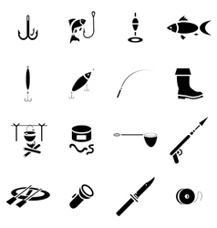 Fishing icon set simple style vector