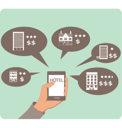 Mobile search for hotels vector