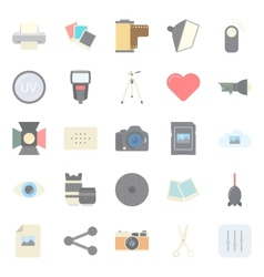 Photo equipment end editing flat icons set vector image