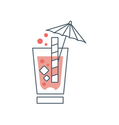 Summer cocktail with cubes of ice bubbles straw vector
