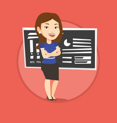 teacher or student standing in front of chalkboard vector image