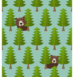 Bear forest seamless pattern vector image