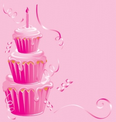 girls 1st birthday cupcake vector image vector image