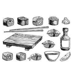 hand drawn sushi set vector image