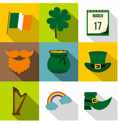irish holiday patrick icon set flat style vector image vector image