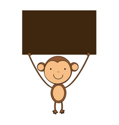 monkey with a wood in the hand icon vector image vector image
