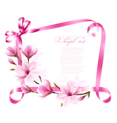 nature background with blossom branch of magnolia vector image