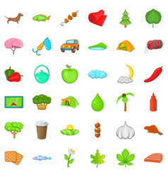 nature sport icons set cartoon style vector image
