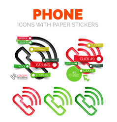 Old phone linear style icons 3d cut out vector