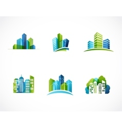 real estate city skyline icons and logos vector image vector image