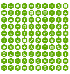 100 development icons hexagon green vector image