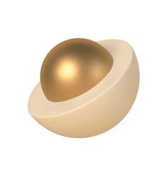 Abstract 3d hemisphere with golden ball inside vector