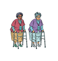african and caucasian old ladies with walker vector image