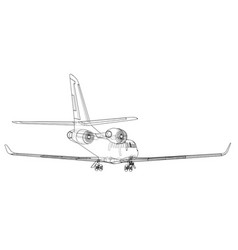 airplane blueprint vector image