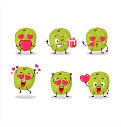 Amla cartoon character with love cute emoticon vector
