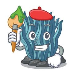 Artist blue seaweed in shape mascot vector