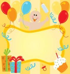Baby girl birthday invitation vector