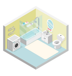 Bathroom isometric toilet sink washing machine vector