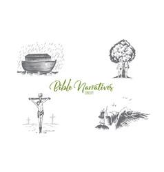 bible narratives - noahs ark adam and eve vector image