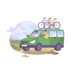 Bikes on minivan composition vector