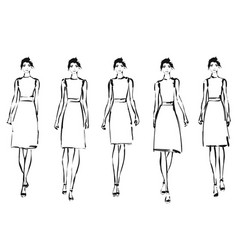 black and white fashion models in sketch style vector image