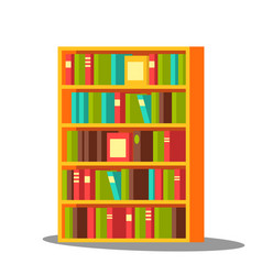 bookcase home library pile encyclopedia vector image