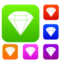brilliant gemstone set color collection vector image