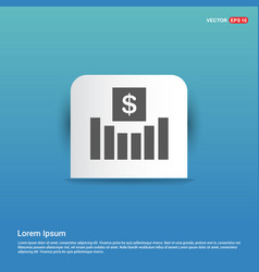 business growth diagram icon - blue sticker button vector image