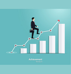 Businessman walking up to steps or success vector