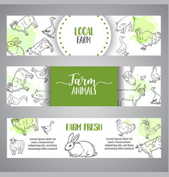 butchery horizontal banner hand drawn farm vector image