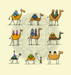 camels collection sketch for your design vector image