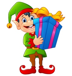 cartoon elf holding gift box vector image