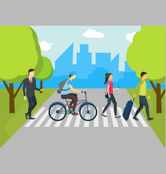 cartoon people at the crosswalk card poster vector image